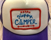 """Girls Youth/Kid Purple Trucker Hat with """"Happy Camper"""" Patch"""