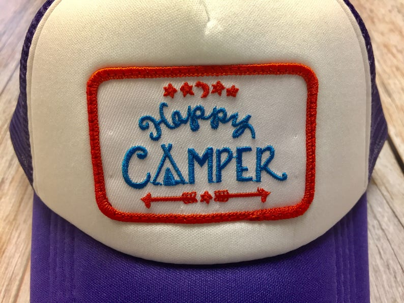 Girls Youth/Kid Purple Trucker Hat with Happy image 0