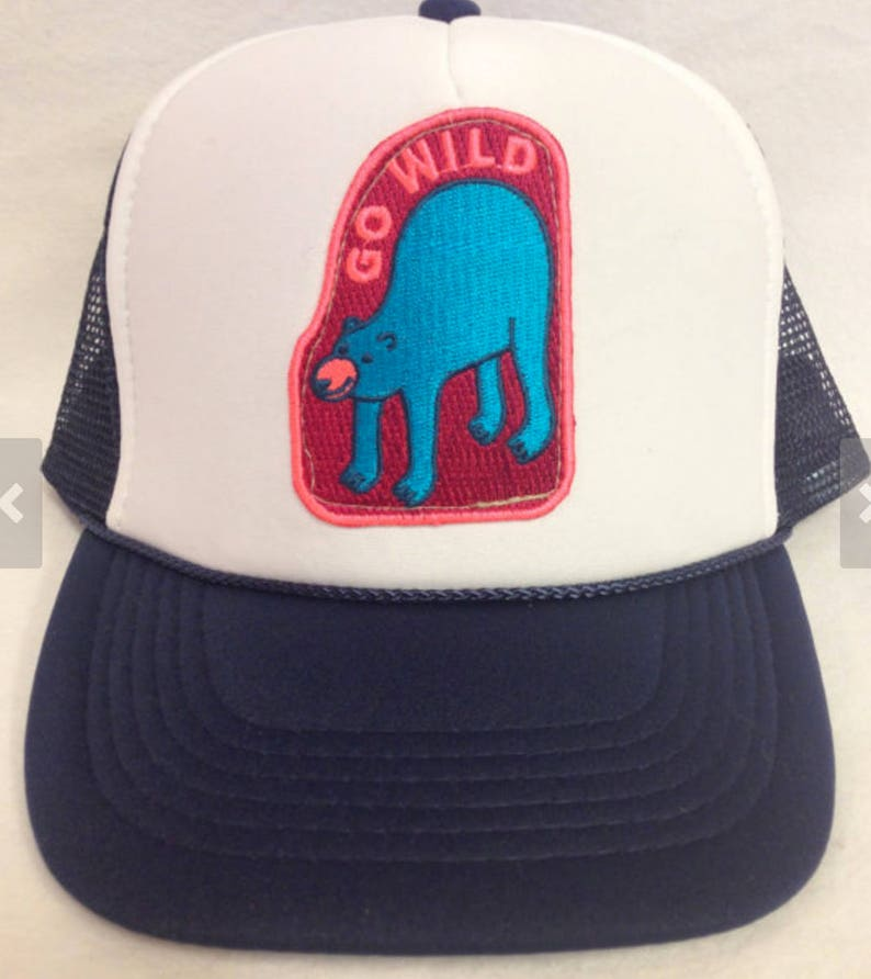 Youth/Girls Navy and White Trucker Hat with Go Wild image 0