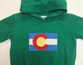 Colorado Flag Hoodie - Toddler/Kids Sweatshirt- Appliqué Hoodie - Green