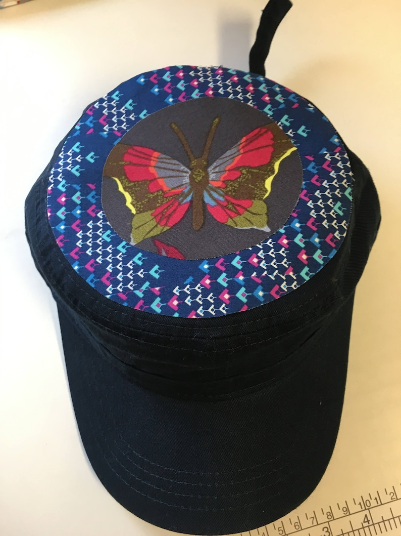 Women's Military Hat  Navy Cap with Butterfly applique image 0