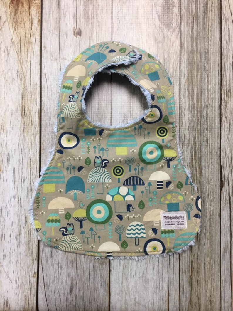 Gender Neutral Bib in Woodland Fabric  Baby Shower Gift-Baby image 0