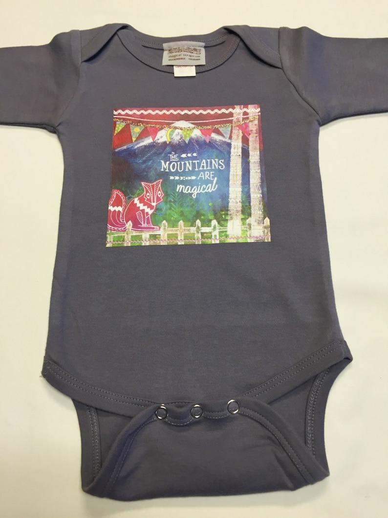 Gender Neutral Mountains Bodysuit  Baby Shower Gift image 0