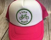 Toddler/Kids Girls Trucker Hat- I Like Biles Patch -Hot Pink/ White Trucker Cap