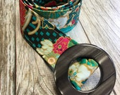 Women's Fabric Belt - Multi Colored Floral with Teal and Black Pattern