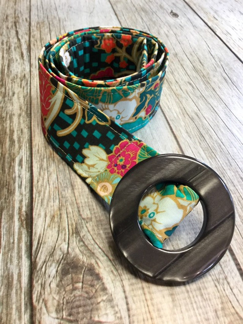 Women's Fabric Belt  Multi Colored Floral with Teal and image 0