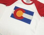 Baby Colorado Flag Baseball Tee - Red Baby Baseball Tee