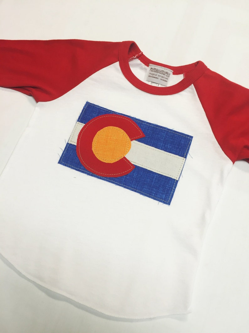 Baby Colorado Flag Baseball Tee  Red Baby Baseball Tee image 0