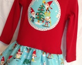 Girls Christmas Outfit-Applique Holiday Frock with Christmas Gnomes-Toddler Christmas Tunic