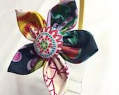 Flower Fabric Headband - Yellow Headband with Yellow and Navy Flower
