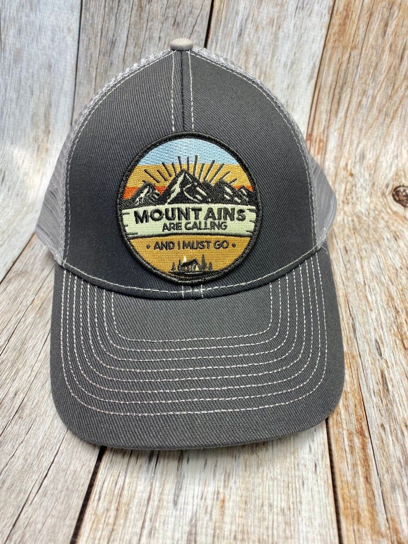 Women's Trucker Hat  Mountains are CallingPatch  Gray image 0