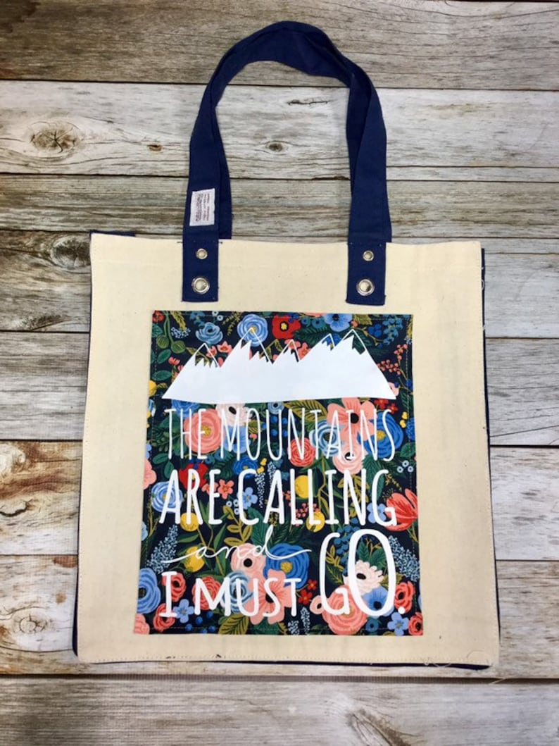 Tote Bag  The Mountains Are Calling  Natural image 0