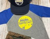 Little Ripper Toddler Boy Tshirt Baseball Raglan Shirt Bike, Ski, or Snowboard Appliqué