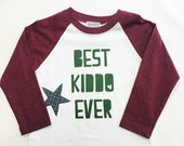 "Boys Raglan Sleeved Shirt with ""Best Kiddo Ever"" & Appliqué Patch"