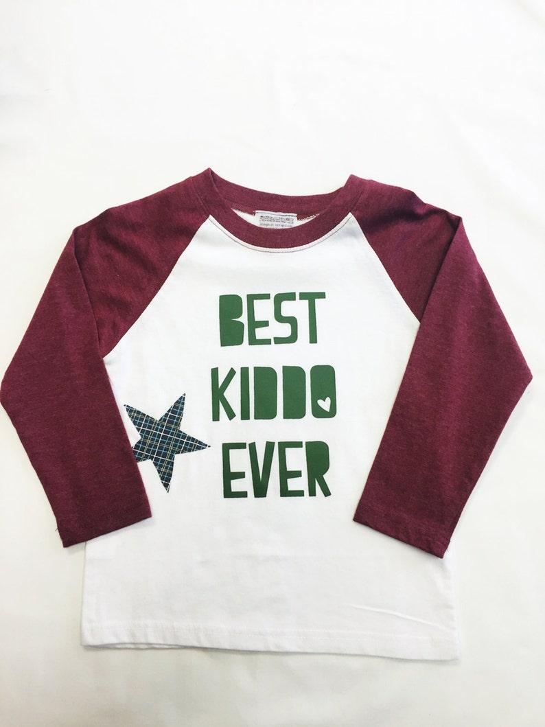 Boys Raglan Sleeved Shirt with Best Kiddo Ever & image 0