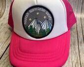 Toddler/Kids Girls Trucker Hat Mountain Appreciation Society Patch -Hot Pink/ White Trucker Cap