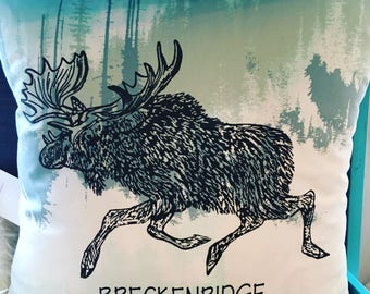 """Pillow Cover 14"""" : """"Moose on the Loose"""" Breckenridge- 14 inch Throw Pillow- Moose Pillow"""