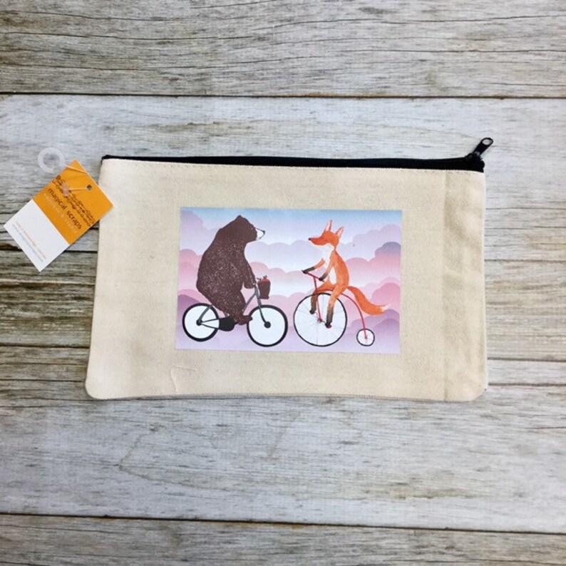 Makeup Bag Fox and Bear on Bikes image 0