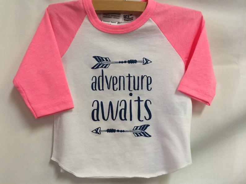 Girls Infant Raglan Shirt with Adventure Awaits & image 0