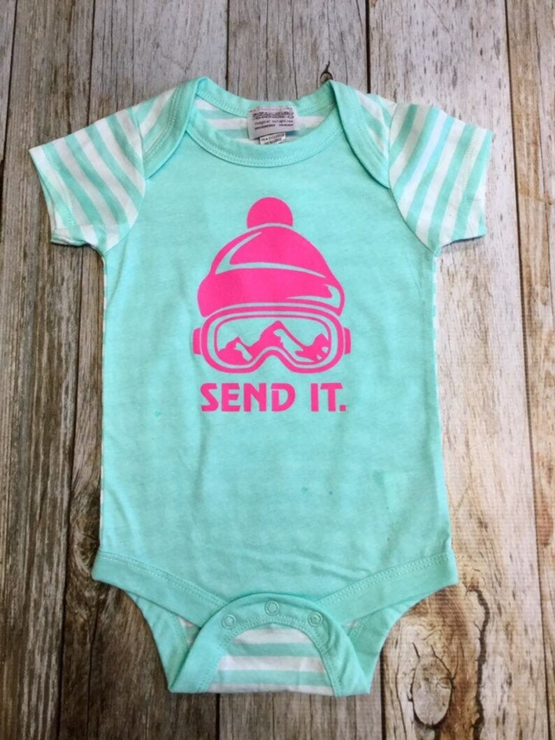 Baby Girls Send It Bodysuit  Short Sleeve Infant Ski image 0