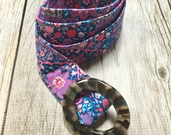 Women's Fabric Belt - Blue and Pink Boho Floral