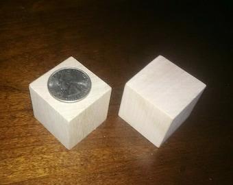 1.25 inch - Unfinished Hardwood Cubes - 48 Blocks