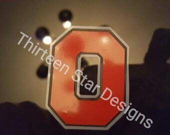Oh-io tile coasters, O Coaster, Vinyl O coaster, Tile coaster, black tile coaster, scarlet and grey coaster, Tile O coaster, buckeye coaster