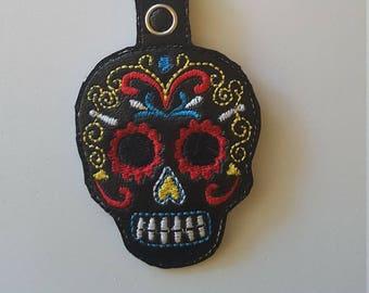 Sugar Skull Keychain, Sugar Skull Key fob, Day of the Dead Key chain, Vinyl Skull Snaptab, Embroidered Skull, Sugar Skull Zipper Pull