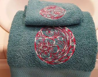Embroidered Easter Egg Towel Set, Easter Egg Towel Set, Bath & Hand Towel set, Teal and Pink Easter Egg towel set, Easter Bath/Hand TowelSet
