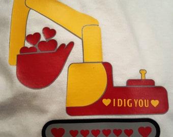 Boy's Excavator Valentine's Shirt, Excavator Shirt, Heart Excavator Shirt, Boys Heart Excavator Shirt, Boy's Shirt. Boy's Excavator Shirt