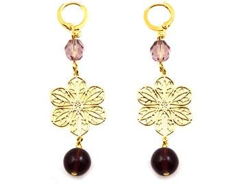 Statement Earrings, Purple Earrings, Long Earrings, Flower Earrings, Purple Statement Earrings, Statement Jewelry, Floral Jewelry, Flora