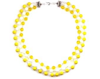 Yellow Statement Necklace, Bright Yellow Jewelry, Bright Yellow Necklace, White Statement Necklace, Sea Glass Jewelry, Multi Strand Necklace