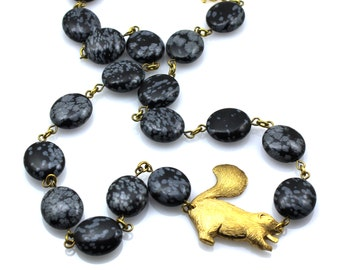 Skunks For Women, Skunk Jewelry For Women, Black Gold Animal Necklace, Black Animal Statement Jewelry, Bold Black Statement Necklace