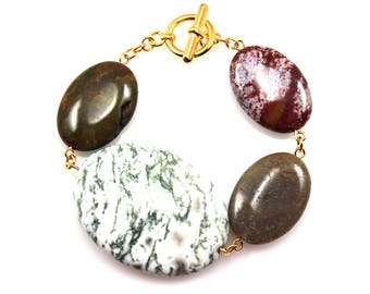 Green Statement Bracelet, Gemstone Bracelet, Red Statement Bracelet, Agate Jewelry, Jasper Jewelry, Green Jewelry, Ocean Jasper Bracelet,