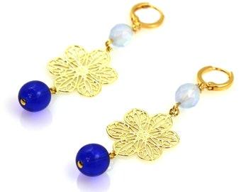 Statement Earrings, Blue Earrings, Long Earrings, Flower Earrings, Blue Statement Earrings, Statement Jewelry, Floral Jewelry, Ice Blue