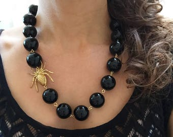 Spider Necklace, Black Statement Necklace, Insect Jewelry, Black Necklace, Bug Necklace, Spider Jewelry, Insect Necklace, Spiders, Halloween