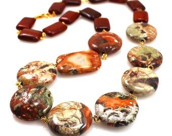 Dark Red Necklace, Red Statement Necklace, Gemstone Necklace, Fall Necklace, Dark Red Jewelry, Statement Jewelry, Colorful Statement Jewelry