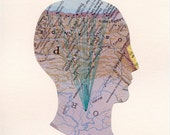 Head - Map Collage ORIGINAL by Shannon Rankin, signed, map, head, anatomy, embroidery, thread, travel, art, artwork