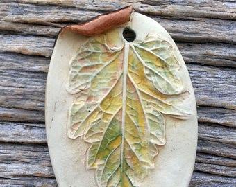 Ceramic Pendant  Rustic Large Leaf  Stoneware by Mary Harding