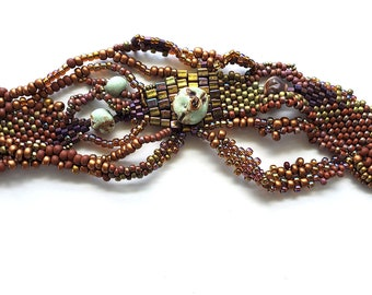 Freeform peyote stitch cuff bracelet by Mary Harding