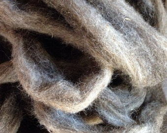 Guinea pig and Jacob Wool Roving Natural Color 1oz