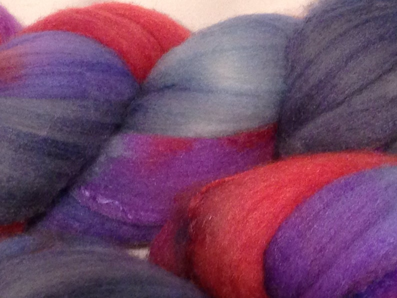 Merino and Silk Roving Blue Red and Purple.  4oz image 0