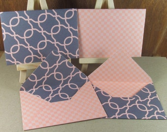 4 A7 Handmade envelopes in chic grey and pink patterns, coloured inside