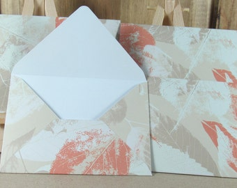 4 Mini A7 Handmade envelopes, autumn leaves in tan and cream. Thank you, Weddings, birthday cash, gift giving, invitation