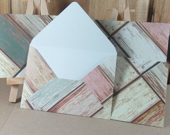 4 mini A7 Handmade envelopes in cream, pink and blue with weathered wood patterns, white inside. Wedding, thank you, cash gifting