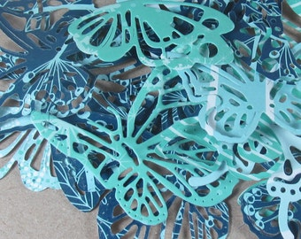 18  paper butterfly die cuts, 5 designs in shades of blue, leal, turquoise set 5