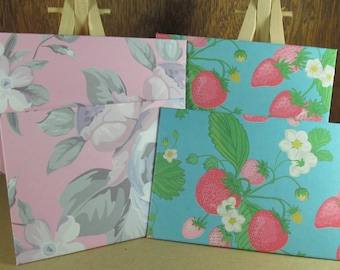 4 mini A7 handmade envelopes in soft pink rose pattern and turquoise with strawberries, coloured inside