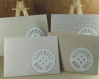 4 A7 Handmade With Love motif envelopes in shades of tan and peach