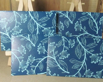 4 mini A7 handmade envelopes in deep blue with pale blue flower. Thank you, gift giving, weddings, cash envelopes