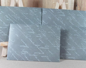 4 mini A7 handmade envelopes in slate grey with text, white inside, Thank you, weddings, invitatiions, gift giving, cash gifting